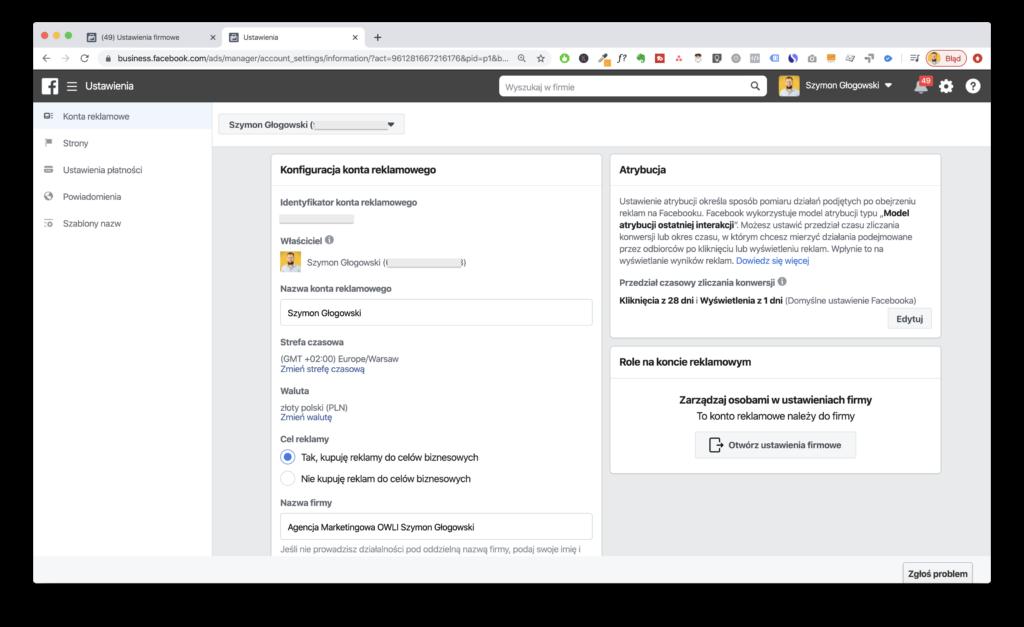 """Edycja ustawieÅ"""". Dane firmy dofaktury nafacebooku."""