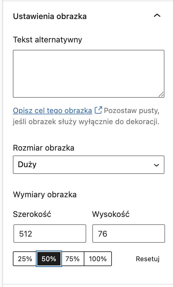Uzupełnienie atrybutu ALT orazdostosowanie rozmiaru obrazka przy edycji wpisu naWP.
