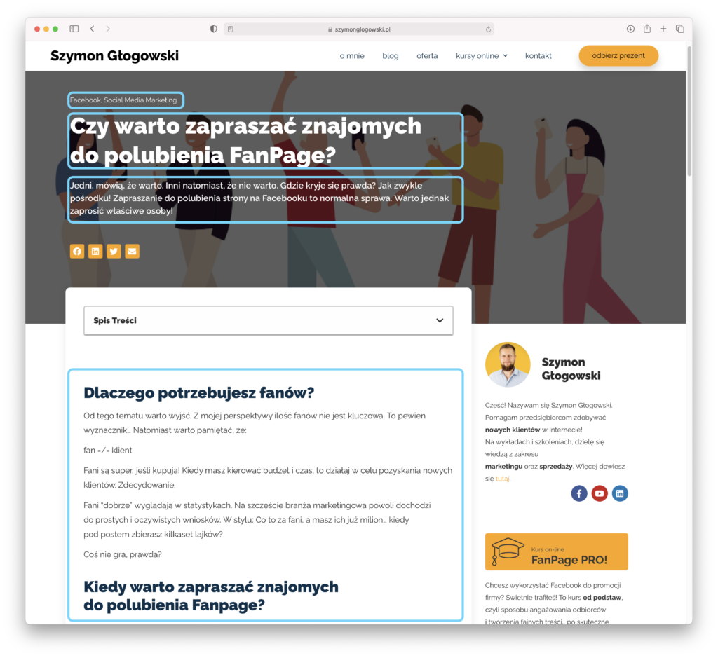 Główne elementy wpisu blogowego naWordPress.